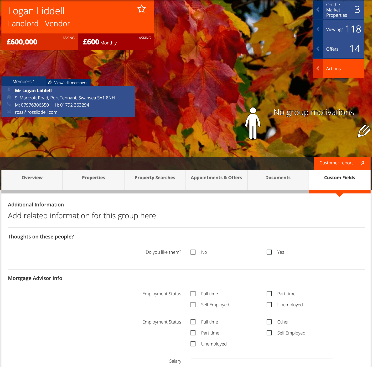 Screenshot of custom fields